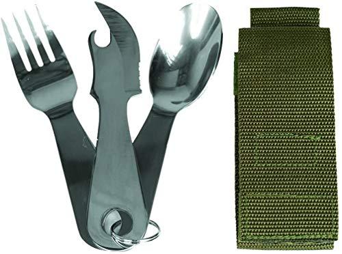 Miltec - Juego de 3 cubiertos de acero inoxidable para adult