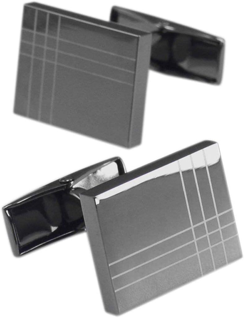 BO LAI DE Men's Cufflinks Rectangular Gun Black Laser Stripe Cuff Links Suitable for Business Events, Meetings, Dances, Weddings, Tuxedos, Formal Wear, Shirts, with Gift Boxes