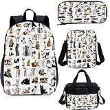 Cat Lover - Juego de bolsas de almuerzo (17 pulgadas, diseño de razas de gato, 4 en 1)