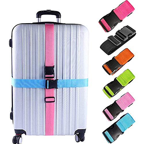 6 Pack Luggage Straps, Adjustable Suitcase Belts, Briskyto Heavy Duty Non-Slip Travel Luggage Straps, TSA Approved with Quick-Release Buckle Travel Accessories Bag Straps (Multicolored)