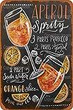 Aperol Sprity Cartel de Chapa Vintage Placa de Pared Retro Cartel Artístico de Metal Garaje Cafetería Bar Pub Club Tienda Jardín Granja Decoración, 20 x 30 cm