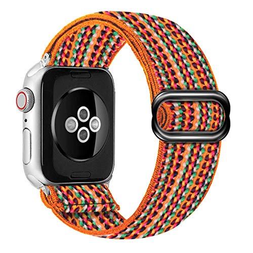 Correa de reloj de Apple con hebilla elástica de nailon suave y cómoda 38 mm 42 mm Serie 6 SE 54321 Para iWatch Correa Bohemia trenza44 mm