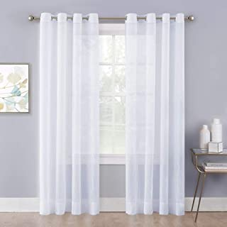 NICETOWN Sheer Curtains White Crinkled Voile Textured, Crushed Privacy Sheer Window Treatment Lightweight and Breathable with Grommet Top for Cottage/Farmhouse (Set of 2, W52 x L84, White)