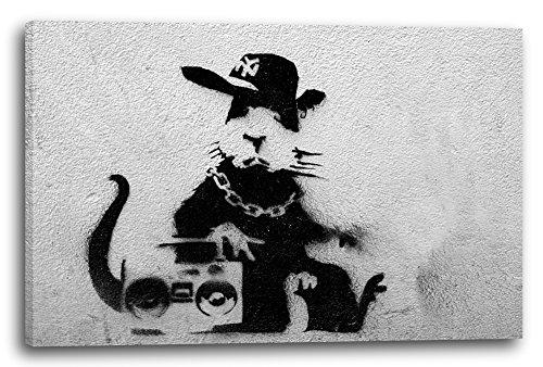 Printed Paintings Leinwand (60x40cm): Banksy - Ratte mit Ghettoblaster Rat Graffiti Kunst Street