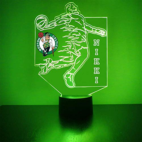 Celtics (Boston) Basketball Sports Fan Lamp/Night Light - LED - Personalize for Free - Featuring Licensed Decal