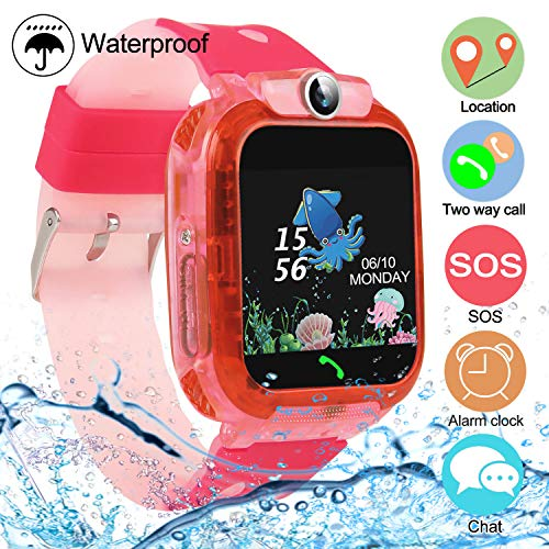 Smartwatch Kinder Tracker Uhr Waterproof SOS Kids Smart Watch Voice Phone Chat für 3-12 Jahre alte Jungen Mädchen Pink