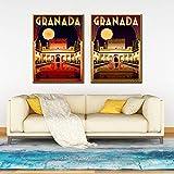 zzlfn3lv Alhambra Granada España Viaje póster e impresión Digital Pared Arte Lienzo Pintura Vintage Imagen decoración del hogar -40x60cmx3 Piezas