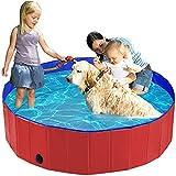 Havenfly 120x30cm Piscina per Cani Portatile, Vasca da Bagno Pieghevole per Cani Gatto Animali Domestici, PVC Materiale-Rosso