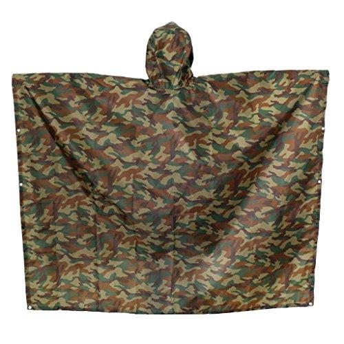 perfeclan Outdoor 3 In 1 Militär Regenmantel Poncho Rucksack Regenschutz Zeltmatte Wandern - Camo, Groß