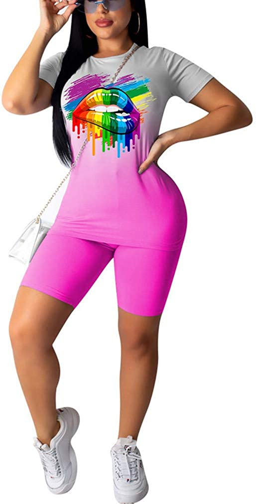 Womens 2 Piece Outfits Short Sets Tracksuits Tie Dye Print T-Shirt Tops Bodycon Bikers Shorts Workout Sets