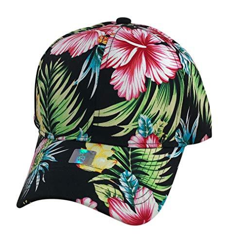 Prfcto Lifestyle Floral Print Baseball hat - Hawaiian Flower Baseball Caps (Black& Red Pink Floral Print)