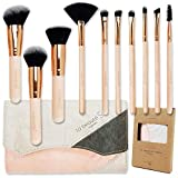 labeauteSoi Professional Makeup Brush Set - 10 pcs Essential Soft Synthetic Face and Eyeshadow Brushes in Pink RoseGold with Bag - Travel Friendly Paper Case No Odor (US BRAND)