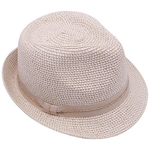 Krono Krown Fedora Panamá - Sombrero de sol para mujer, con lazo de cinta, ajustable, UPF50+, Marfil Combo/Zigzag, Talla única