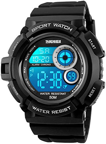 Mens Military Multifunction Digital Watches 50M Water Resistant Electronic 7 Color LED Backlight Black Sports Watch (Black)
