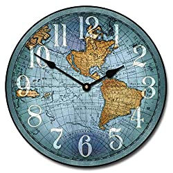 Vincenzo Blue World Map Wall Clock, Available in 8 Sizes, Most Sizes Ship The Next Business Day,