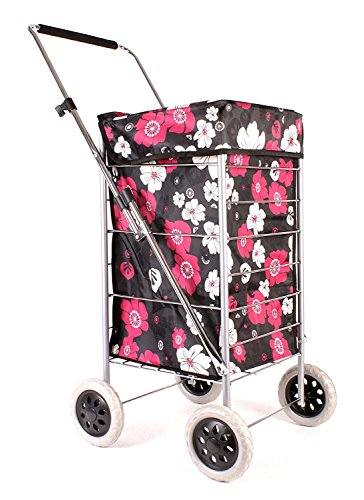 Premium 4 Wheel Shopping Trolley with Adjustable Handle Black with Pink and White Floral Print