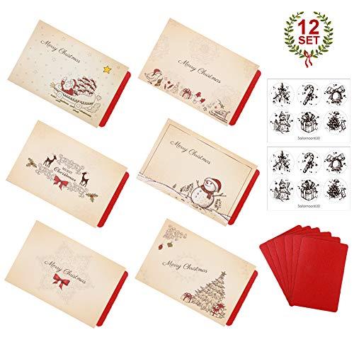 12 tarjetas de felicitación navideñas Rosa roja con sobres y pegatinas, Tarjeta de Felicitación, Papel Kraft Retro Hecho a Mano,Navidad tarjetas de felicitación Bulk invierno vacaciones de Navidad