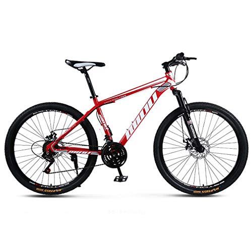 AISHFP Bicicleta de montaña para Adultos, Bicicleta de Moto de Nieve en la Playa, Bicicletas de Crucero de Doble Freno de Disco, Ruedas de aleación de Aluminio de 26 Pulgadas,Rojo,21 Speed