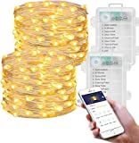 MINGER Fairy Lights, LED Fairy String Lights Battery Operated Light Strings Work with App Via Bluetooth, Waterproof for Wedding Bedroom Jars Festival Decor Warm White, 2 Packs of 16.4ft
