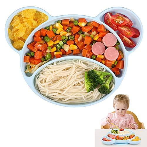 Ballery Assiette Ventouse pour Bébé, Assiette Bebe Silicone Antidérapante Bol Bebe Ventouse Vaisselle Silicone avec Compartiments Approuvé au Lave-vaisselle et au Micro-ondes (Bleu)