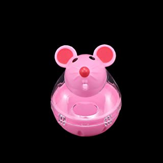 Cat Toys - 1 Pcs Creative Design Mouse Shape Toy Food Dispenser Bowls Dog Leakage Rolling Feeder Pink White - Interactive Kitten Grasshopper Make Hide Excavator Electron Operated Chewin