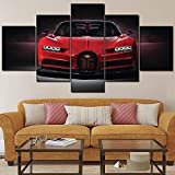 FYZKAY Cuadro en Lienzo 5 Partes Lienzo Arte de la Pared Imágenes Decoración para el hogar Sala de Estar Bugatti Chiron Rojo Hypercar Pintura HD Tipo de impresión Cartel Sin Marco