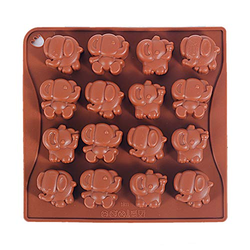 Yunko 16 Cavity Elephant Silicone Chocolate Mold Ice Cube Tray Jello Fudge Mold Candy Gum Mould Pudding molds