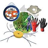 Cabezal para desbrozadora: juego completo con cabezal multihilo de nailon, tarantola de 12 hilos + hilo para desbrozadora profesional redondo de 15 m 3 mm + disco antienredos + guantes de regalo