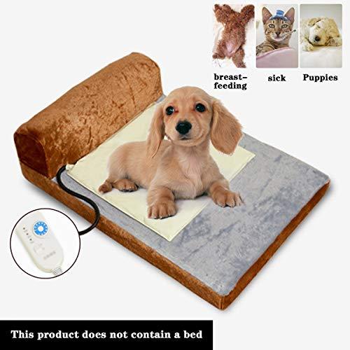 Qianc Elektrische deken voor huisdieren, bescherming tegen oververhitting, warmtekussen voor 10 temperatuur en timer, verstelbaar, verwarmingskussen voor honden