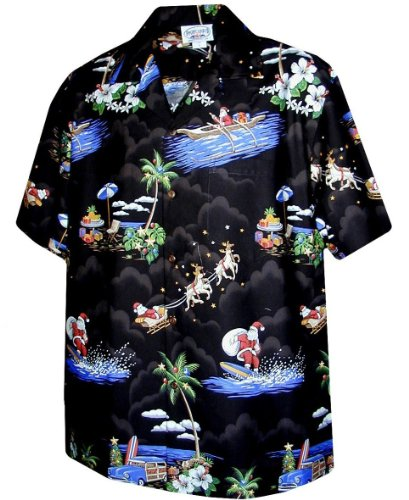 Pacific Legend Christmas Santa Claus Hawaiian Shirt (Large, Black)