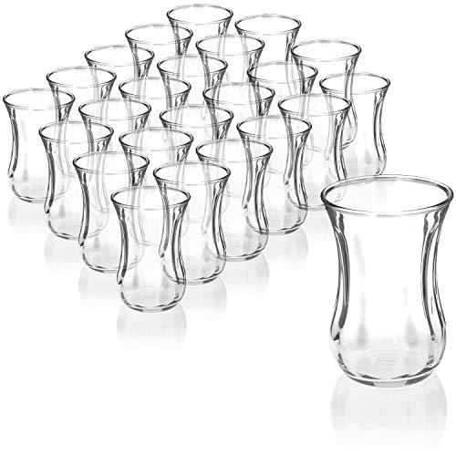 com-four® 24-teiliges Teeglas Set, Türkische Teegläser, original orientalisches Çay-Set für 24 Personen, Gastroqualität