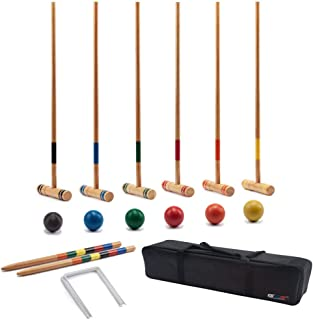 GSE Games & Sports Expert Premium 6-Player Croquet Set for Adults & Kids (Several Styles Available)