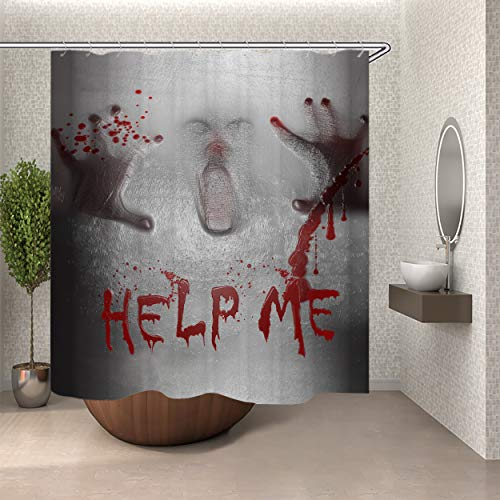 SARA NELL Halloween Shower Curtain Help Me Shower Curtain with 12 Hooks,Halloween Scene of a Demon Man with Bloody Hands Shower Curtain,Horrible Scary Shower Curtain, Waterproof & Durable