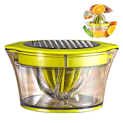 Exprimidor de cítricos manual multifunción, exprimidor 4 en 1 para naranjas, limones, cítricos, con 2 escariadores, 400 ml de medición grabada