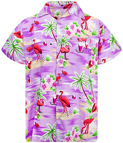 King Kameha Funky Hawaiihemd, Kurzarm, Flamingos, Violett, M