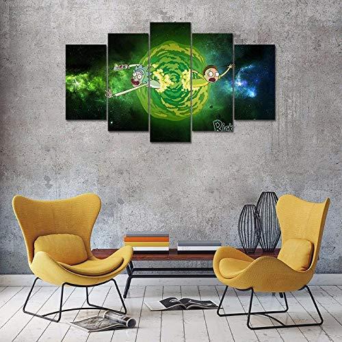 CSDECOR 5 pinturas del arte de la pared 200X100 Cm Cuadros Decoración del Hogar Pared 5 Panel, Animación Juego Carácter Lienzo Pintura al óleo Arte Modular Popular Imagen Sala Impresión
