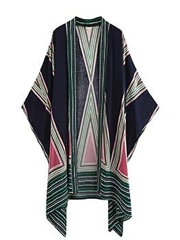 SweatyRocks Women Kimono Vintage Floral Beach Cover Up Navy Blue One Size