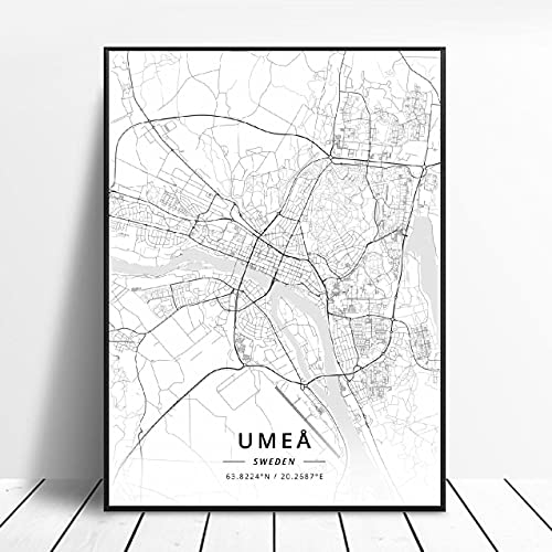 Akersberga Kasrlskrona Upplands Vasby Sklleftea Vaxjo Umea Canvas Art Map Poster ?ZQ-395? Ingen ram poster 40x50cm