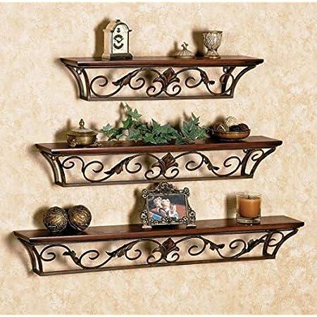 Vudy Floating Shelves Wall Mounted Storage Shelves for Kitchen, Bathroom,Set of 3 Brown