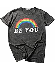 Dames O-hals Pride Rainbow Flag Tops Tuniek Trui Korte Mouw Blouse T-Shirt