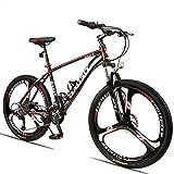 FJW Unisex-Mountainbike 24/27/30 Geschwindigkeit Aluminiumlegierungsrahmen 26 Zoll 3-Speichen-Räder Mit Scheibenbremsen und Federgabel Pendlerstadt Fahrrad,Red,30Speed