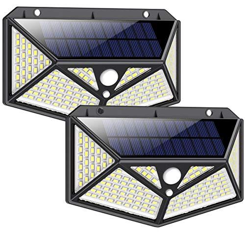 Solarlampen für Außen mit Bewegungsmelder 1500 Lumen, iPosible 150LED Umweltschutz Solar Aussenleuchte Led Solarleuchten für Außen Solar Wasserdichte Wandleuchte Solar Bewegungsmelder Aussen-2 Stück