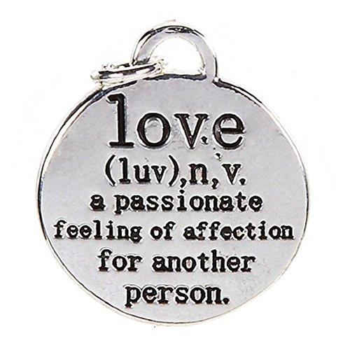 Encanto, definición de amor, chapado en plata de ley, 18mm, 1pc Pkg