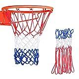 Jinlaili 2 Pieza Red de Baloncesto Reemplazable, 12 Bucle Malla de Baloncesto Estandar,Duradera Red Reemplazo de Aro de Baloncesto Exterior,Profesional Red para Canasta de Baloncesto Blanco Rojo Azul