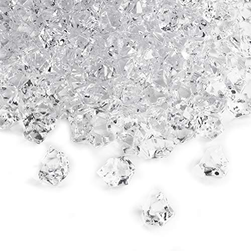 650 Pieces Clear Fake Ice Cubes Acrylic Rock Diamond Crystals Treasure Crushed Gems for Vase Fillers, Table Scatter, Birthday Decoration Favor, Event, Wedding, Arts & Crafts