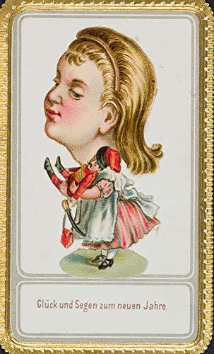 H. W. Fichter Kunsthandel: Geprägte Glückwunschkarte mit Mädchen und Puppe, um 1900, Chromolitho