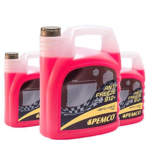 Pemco 3 x 5L Antifreeze 912+ (-40) / Kühlerfrostschutz Fertiggemisch G12+ Rot