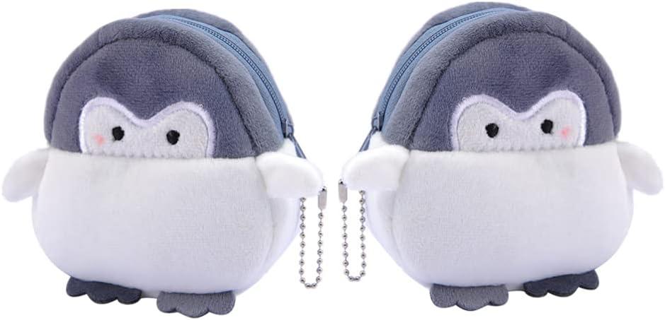 Toyvian 2Pcs Plush Penguin Bags Cartoon Messenger Bag Stuffed Handbags Purse Bags Coin Pouch Earphone Bag for Women Girls Kids