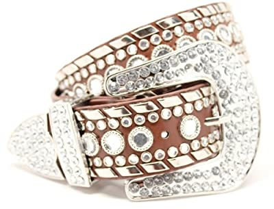Deal Fashionista Women's Western Rhinestone Stud Belt XL Brown