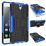 Für Lenovo Vibe S1,Sunrive Hülle Tasche Schutzhülle Etui Hülle Cover Hybride Silikon Stoßfest Handyhülle Hüllen Zwei-Schichte Armor Design Tasche mit schlagfesten mit Ständer Slim Fall(blau)+Gratis Universal Eingabestift